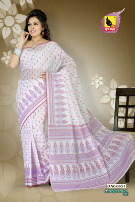 White and Pink Color Cotton Saree