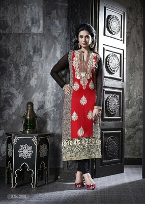 Red Embroidery Pure Georgette Semi Stitched Designer Straight Suit