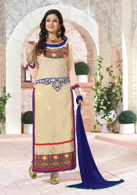 Cream  Embroidery Pure Georgette Semi Stitched Designer Straight Suit
