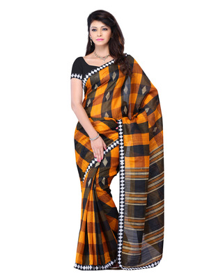 Yellow And Black Color Art Silk Bollywood Party Wear Designer Saree