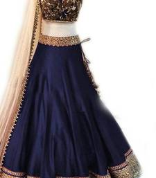 Buy Dark navy blue embroidered dupion silk unstitched lehenga with dupatta lehenga-below-1000 online