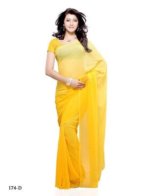 Yellow Color Georgette FestivalParty Wear Designer Saree