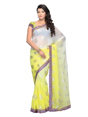 Yellow Color Georgette Party Wear Fancy Designer Saree