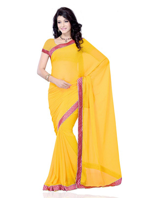 Yellow Color Georgette PartyFestival Wear Saree