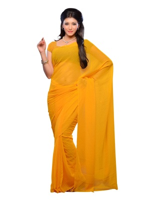 Yellow Color Jacquard Casual Wear Fancy Saree