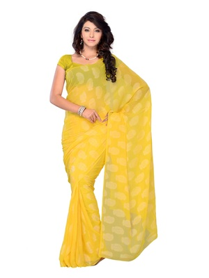 Yellow Color Jacquard Casual Wear Saree