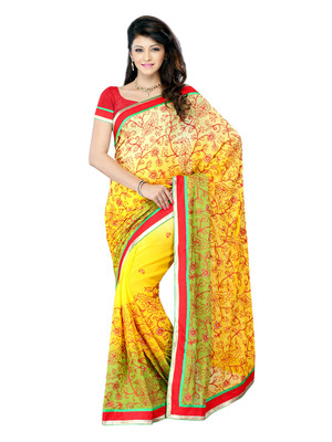 Yellow Color Net Bollywood Party Wear Designer Saree
