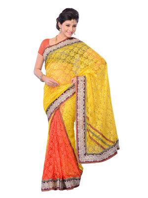 Yellow Color Net Party Wear Fancy Designer Saree