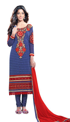 Luxurious Lace Bordered Faux Georgette Salwar Kameez