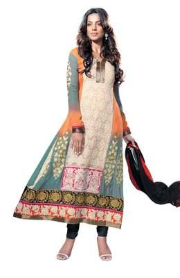 Startling Multi Colored Georgette Salwar Kameez