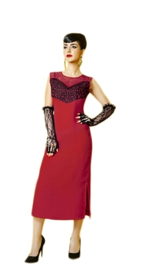 Red embroidered georgette stitched kurtas-and-kurtis