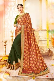 40 Off Orange And Green Patch Bandhani Border Stone Paper Silk Georgette Saree With