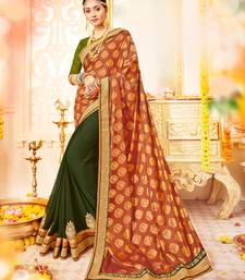 Buy orange and green Patch and  bandhani border and  stone paper silk and georgette saree with blouse great-indian-saree-festival online