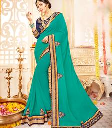 Buy green Patch and  designer border and  stone georgette saree with blouse great-indian-saree-festival online