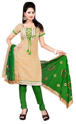 Smart Beige Colored Chanderi Cotton Salwar Kameez