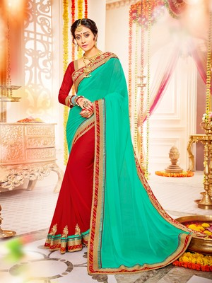 green and red Patch and  bandhani border and  stone georgette saree with blouse