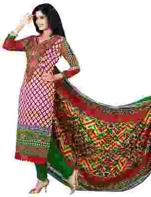 Trendy Red Colored Printed Pashmina Salwar Kameez