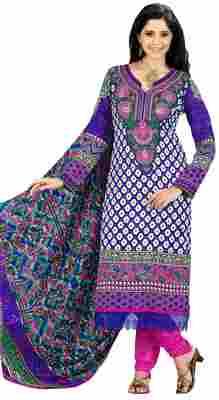 Charming Blue Colored Printed Pashmina Salwar Kameez