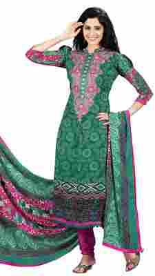 Striking Green Colored Printed Pashmina Salwar Kameez