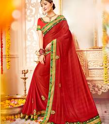 Buy red Patch and  bandhani border and  stone georgette saree with blouse great-indian-saree-festival online