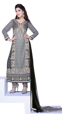 Entrancing Grey Colored Embroidered Net Georgette Salwar Kameez