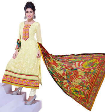 Staggering Light Yellow Colored Embroidered Chiffon Salwar Kameez