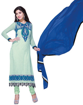 Fine-looking Light Green Colored Embroidered Net Georgette Salwar Kameez