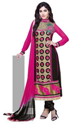 Noticeable Black Colored Embroidered Faux Georgette Salwar Kameez