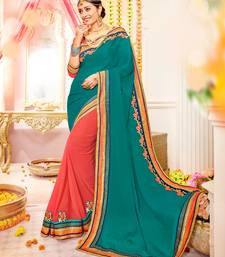 Buy green and orange Patch and  designer border and  stone moss chiffon saree with blouse great-indian-saree-festival online