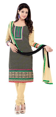 Wonderful Black Colored Embroidered Cotton Salwar Kameez