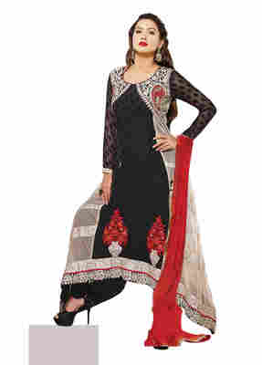 Gauhar Khan's Splendid Embroidered Net Georgette Salwar Kameez