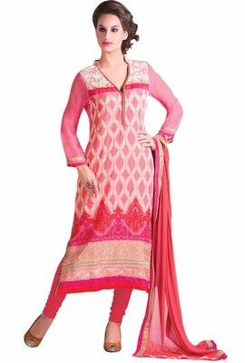 Fabulous Pink Colored Georgette Salwar Kameez