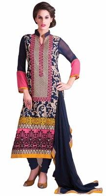 Amazing Blue Colored Georgette Salwar Kameez