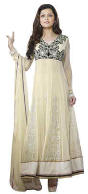 Tremendous Cream Colored Embroidered Net Anarkali