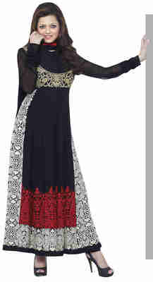 Superb Black Colored Embroidered Georgette Salwar Kameez