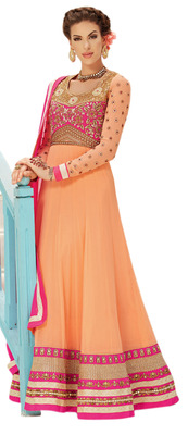 Magnificent Orange Colored Faux Georgette Anarkali