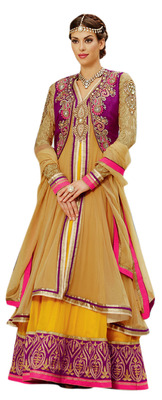 Incredible Beige Colored Faux Georgette Anarkali