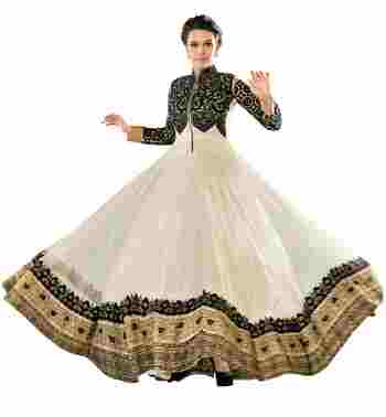 Fascinating Off White Colored Embroidered Net Anarkali