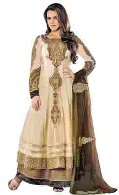 Splendid Light Yellow Colored Embroidered Net Anarkali