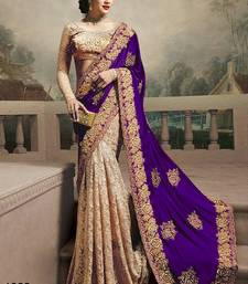 Buy Purple embroidered georgette saree with blouse black-friday-deal-sale online