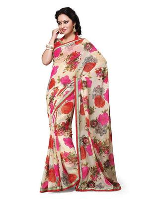FANCY PRINTED SAREE WITH FANCY WORK