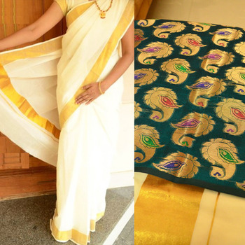 Off-white kerala kasavu saree with bluish green brocade blouse piece