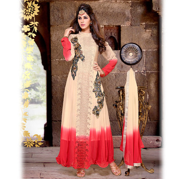 Beige Designer Anarkali Floor Touch Suit