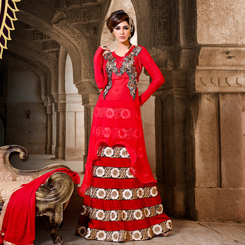Red Designer Anarkali Floor Touch Suit