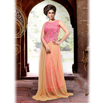 Peach and Beige Designer Anarkali Floor Touch Suit