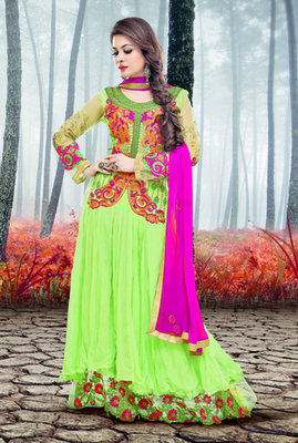 GREEN CIFFION EMBROIDERY DESIGNER ANARKALI SALWAR SUIT