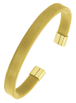 Slim mesh 18k gold plated 316l surgical stainless steel free size cuff kada bangle bracelet for men