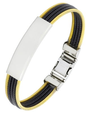 Id biker rope black 316l surgical stainless steel 18k gold plated kada bangle bracelet for men