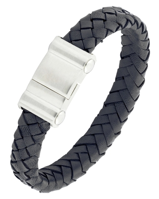 Braided punk 100% genuine handmade soft durable leather black stainless steel wrist band bracelet men
