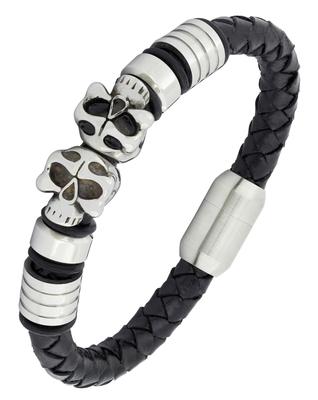 Biker vintage punk skull 100% genuine handmade black leather stainless steel wrist band bracelet men